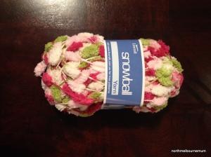 pink white green wool