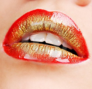 lipstick red gold