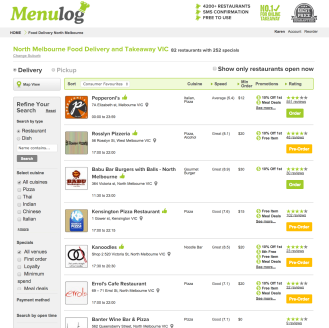 menu log north melbourne