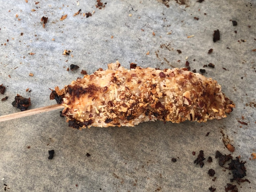 pecan crusted chicken skewer